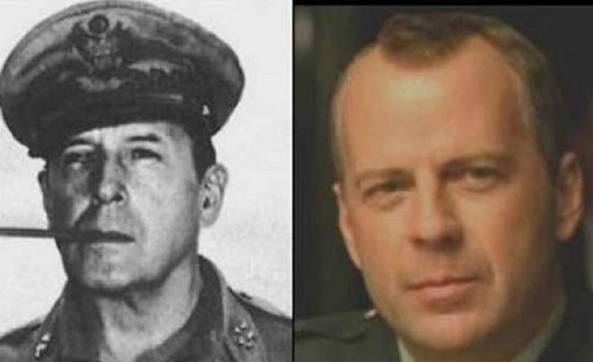 20 Celebrity Historical Doppelgangers - Bruce Willis and American general Douglas McArthur.