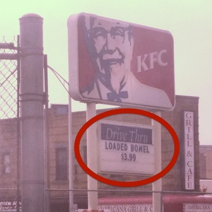 "21 Funny Spelling Mistakes - ""Loaded bowel $3.99"""