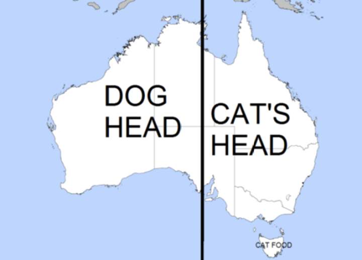 25 Things That Can't Be Unseen - Australia looks like the side view of a dog and cat.