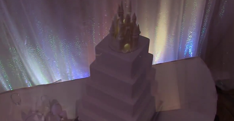 Creative Disney Fairytale Wedding Cake Using Project Mapping.