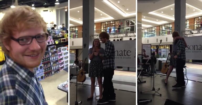 Ed Sheeran Surprises Fan Singing at West Edmonton Mall.