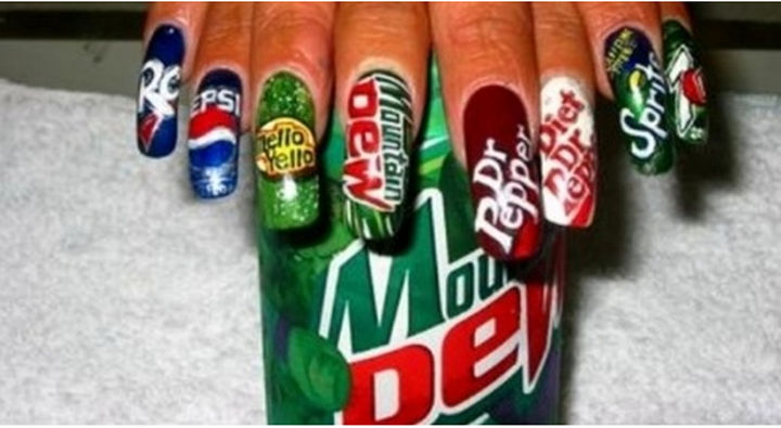 13 Food Nails Inspired by the Love of Food - Soft drink nail art.