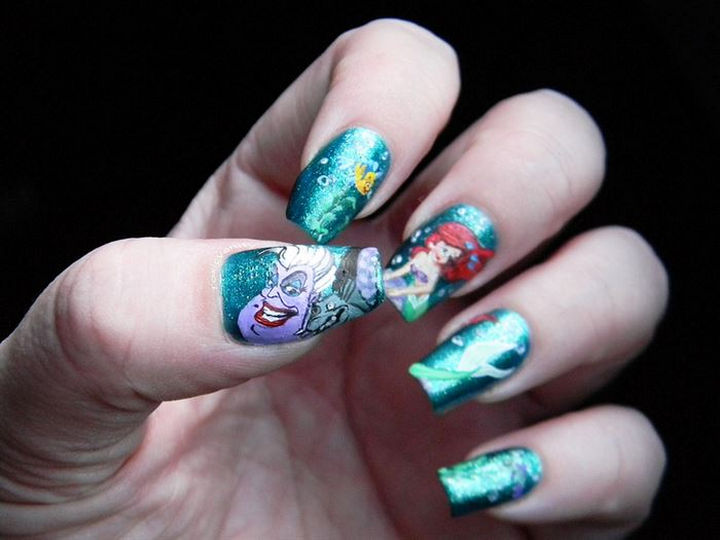 18 Disney Nails - Characters from The Little Mermaid.