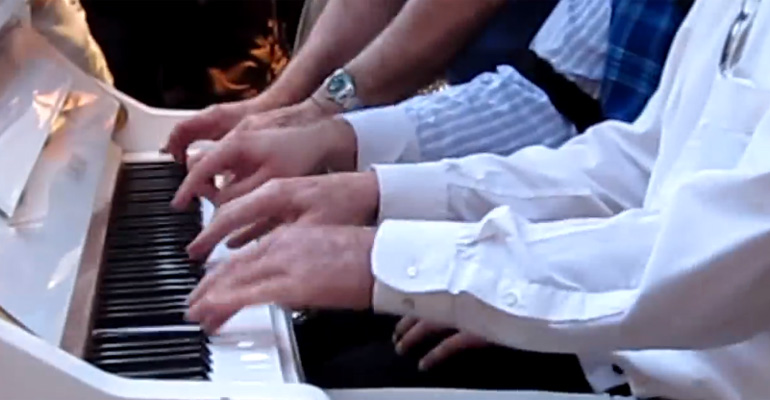 3 Men Playing Piano Together with 5-Hand Boogie Woogie.