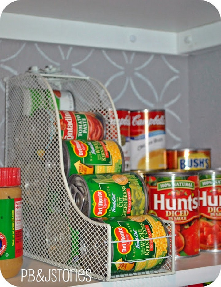 46 Useful Storage Ideas - Use magazine holders to store canned foods.