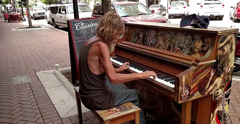 Homeless Man Donald Gould Plays the Piano Beautifully.