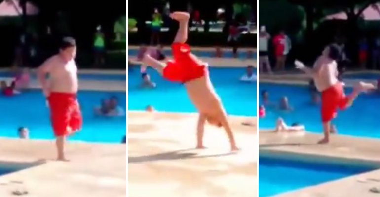 Salsa Kid Hilariously Dances by the Poolside to 'Cuban Pete'.