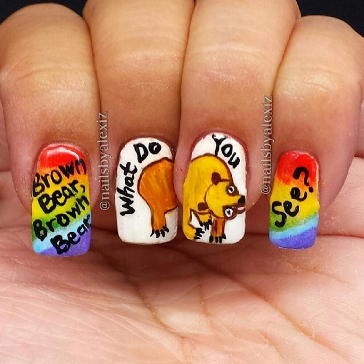 13 Book-Inspired Nail Art Designs - Brown Bear, Brown Bear, What Do You See? by Bill Martin, Jr.