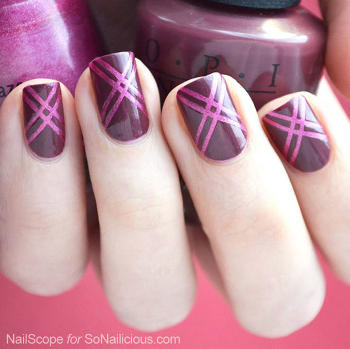 18 Striped DIY Nail Designs - Show off the Pantone color of 2015, Marsala.