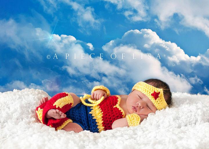 37 Newborns Wearing Geek Baby Clothes - Baby Wonder Woman.