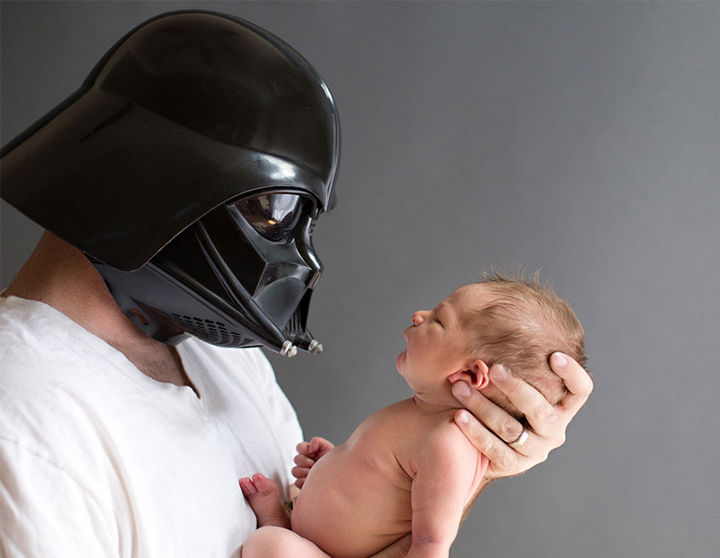 """37 Newborns Wearing Geek Baby Clothes - """"Little one, I am your father."""""""
