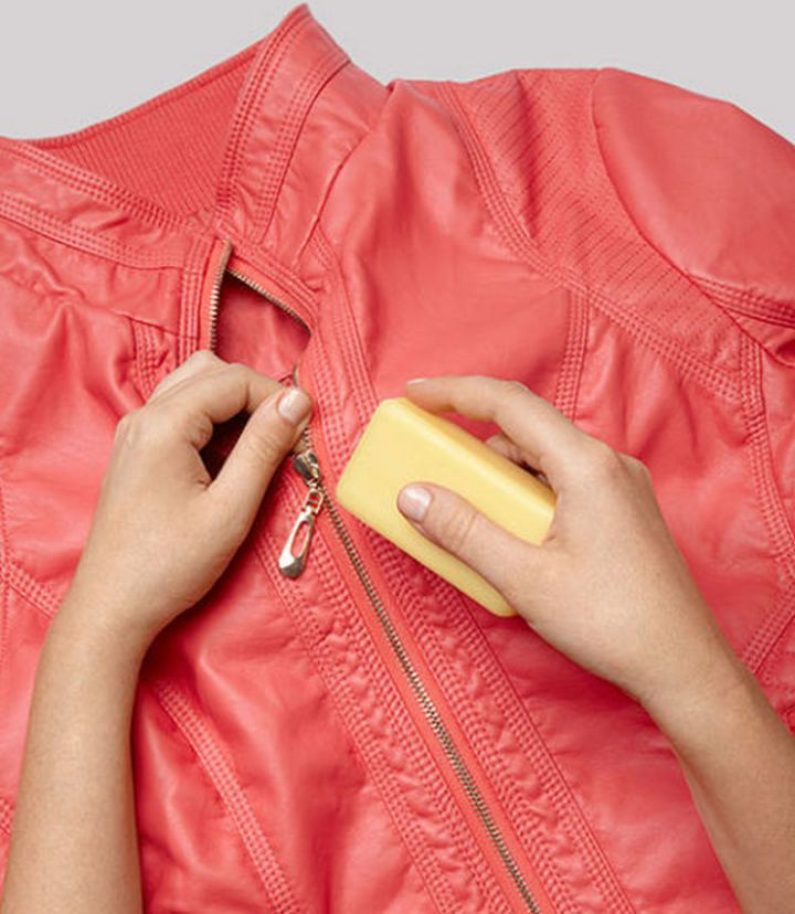 47 Amazing Life Hacks - Bar of Soap - Keep your zippers sliding easily by regularly rubbing them down with a bar of soap.