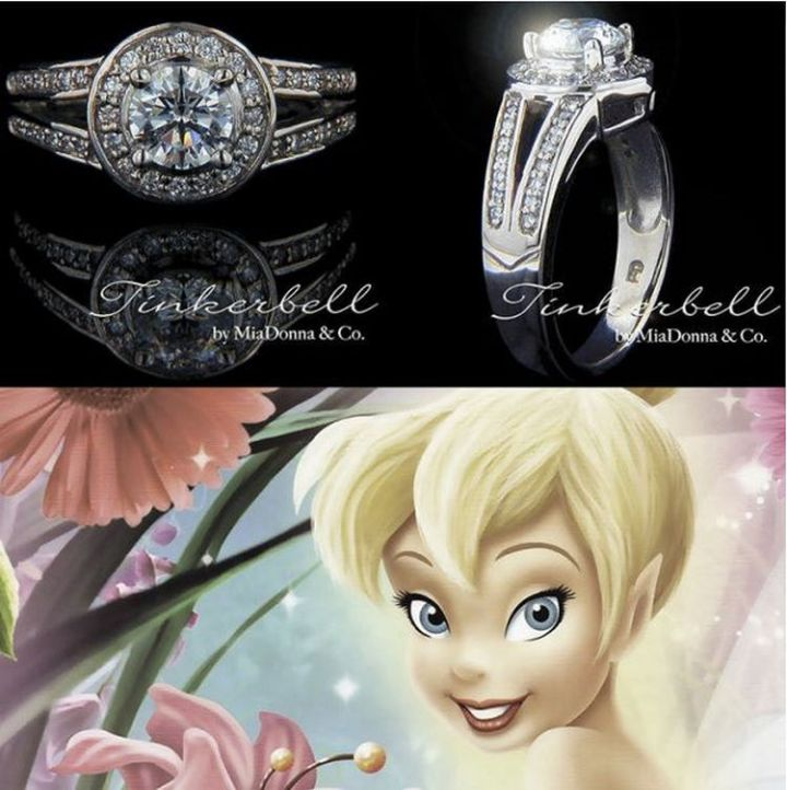 Tinker Bell - 22 Disney Princess Engagement Rings.
