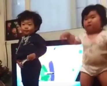 Little Korean Toddler Hilariously Dances With Her Little Brother.