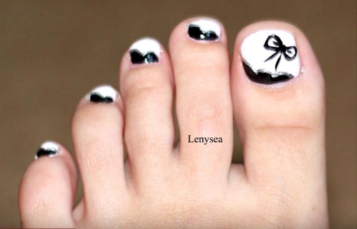 13 Pedicure Designs - Elegant white and black.
