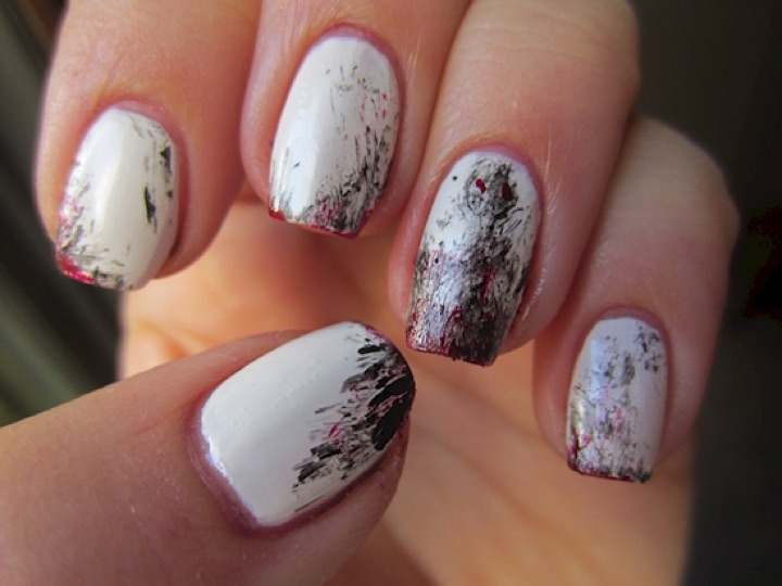 13 Black And White Nails Paint Strokes On A Blank Canvas