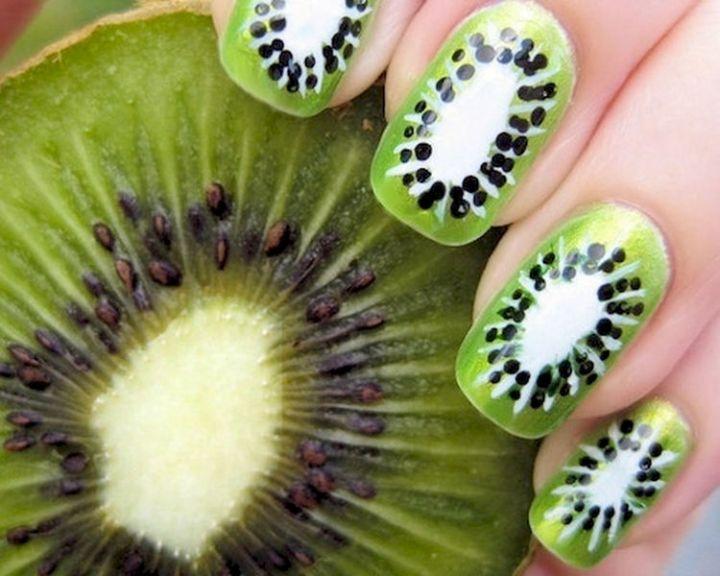 18 Green Manicures - Fun kiwi nail art design.
