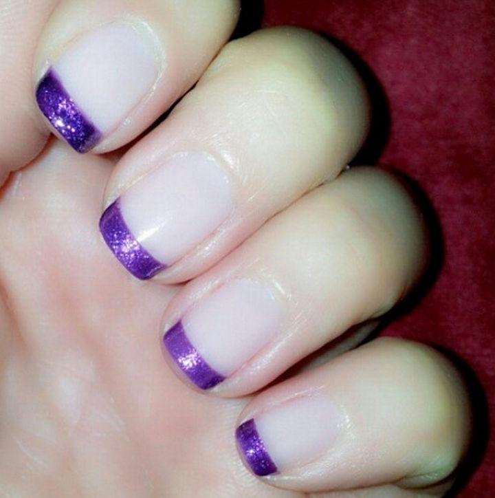 18 Purple Nail Art Designs - Purple French manicure.