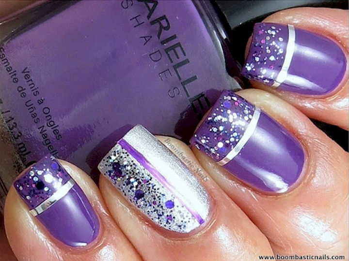 18 Purple Nail Art Designs - Purple glitter and striping tape look incredible.