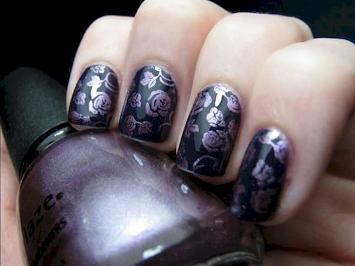 18 Purple Nail Art Designs - Bring out the stencil for this intricate design.