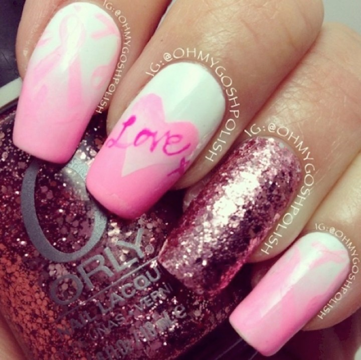 19 Breast Cancer Nails - Go glitter!
