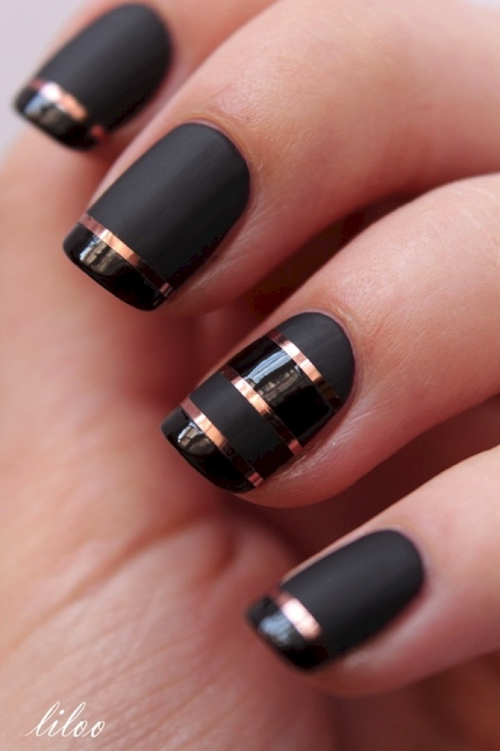 20 Metallic Nails - Matte and glossy French nails with striping tape.