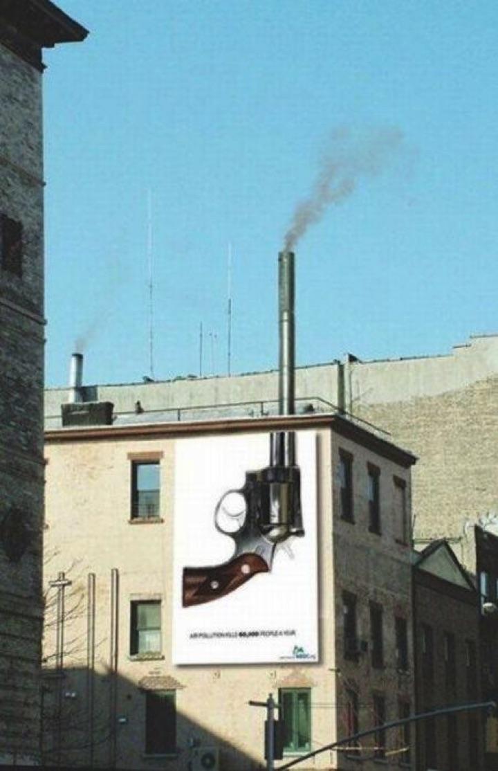 21 Creative Billboard Ads - A well-placed smoking gun billboard.