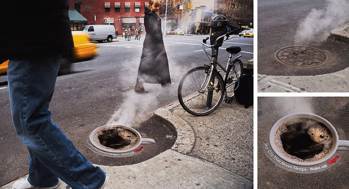 21 Creative Billboard Ads - A coffeeadovera manhole cover demonstrating a steaming hot cup of coffee.