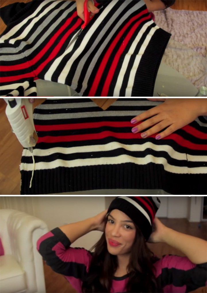 DIY Beanie Made from an Old Sweater - No Sewing Required!