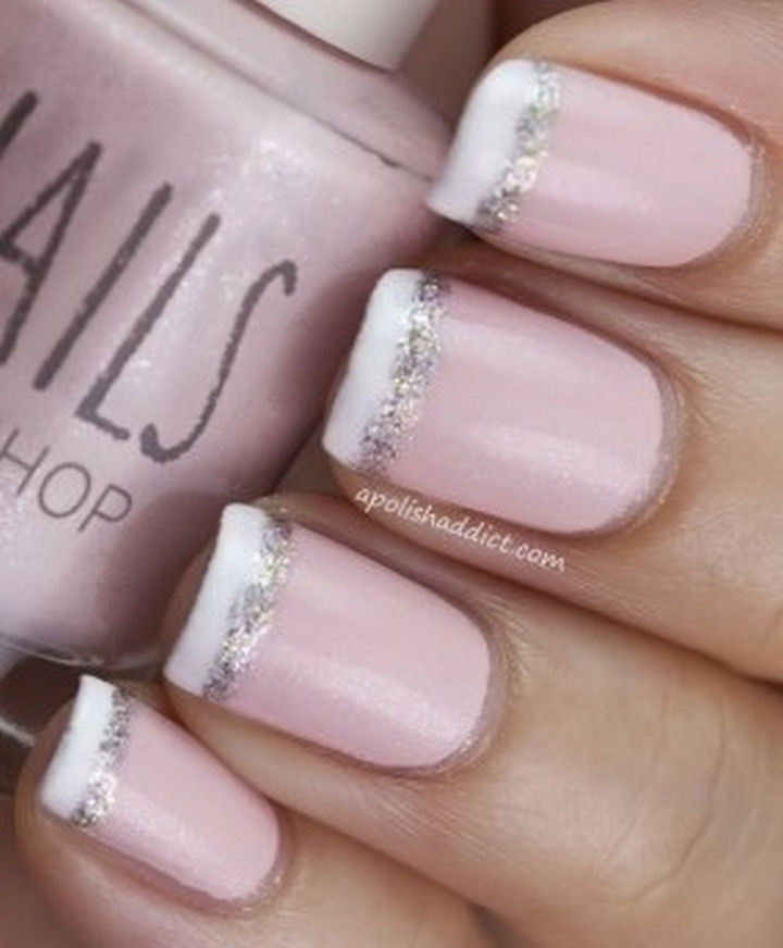 17 French Nails With a Twist - Add glitter to add fun to your next nail design.