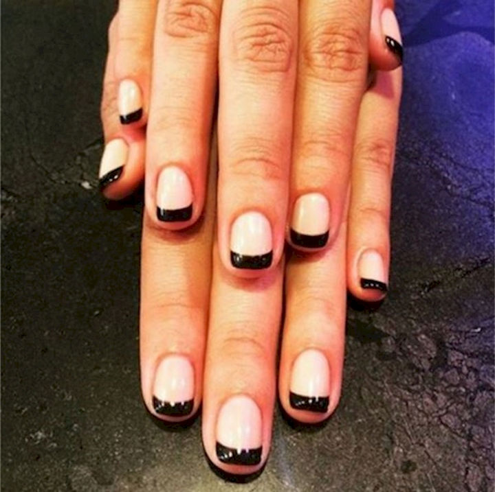 17 French Nails With a Twist - Try a glossy black tip...