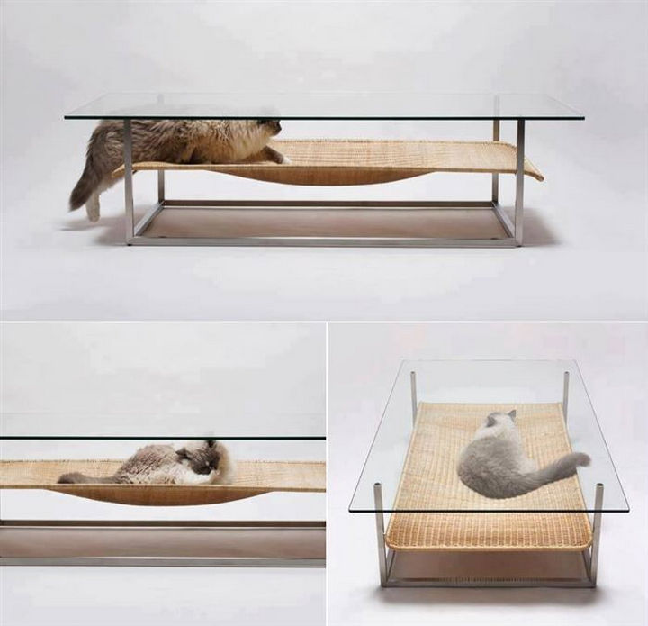 17 Clever Inventions - Coffee table with a built-in cat hammock.