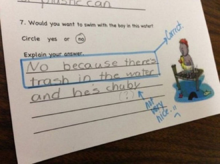 18 Funny Test Answers - That wasn't very nice.