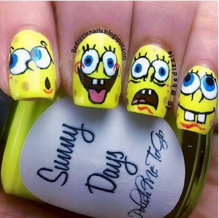 18 Saturday Morning Cartoon Nails - The wacky facial expressions of SpongeBob SquarePants!