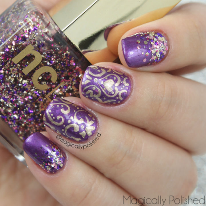 22 Purple Nail Designs - Beautiful baroque nail art with a heart accent.