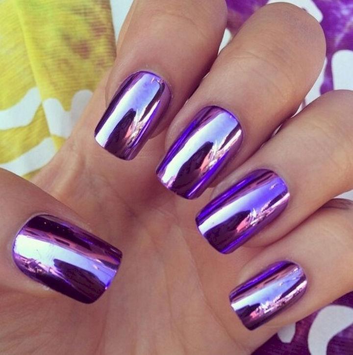 22 Purple Nail Designs - Incredibly shiny metallic nails.