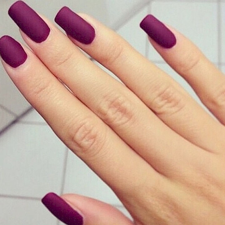 22 Purple Nail Designs - Bring out the glamour with these matte nails.