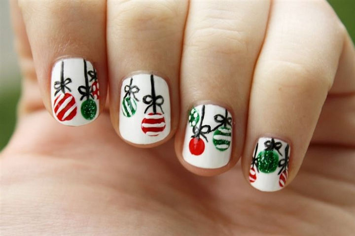23 Christmas Nails - Have a ball with these Christmas ornament nails.
