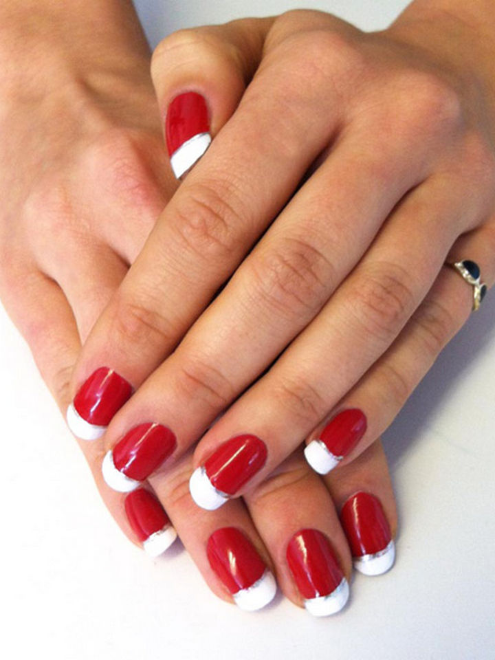 23 Christmas Nails - Holiday French manicure inspired by Christmas stockings.