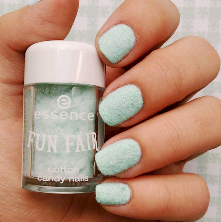 17 Cotton Candy Nails - Fluffy textured cotton candy nails created with flocking powder.