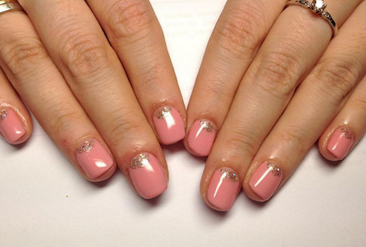 17 Rose Pink Nails - A reverse pink French mani with sparkles.