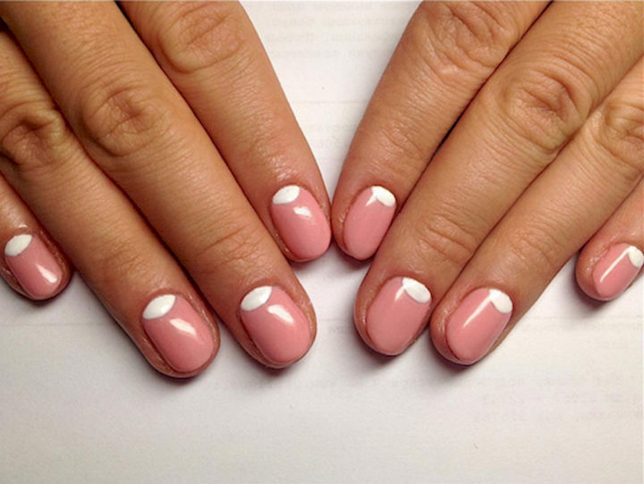 17 Rose Pink Nails - Try a reverse French for a trendy look.