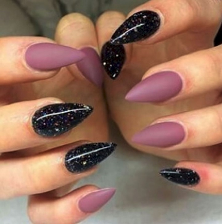 17 Extravagant Mauve Nail Manicures - Black galaxy stiletto nails with matte mauve.