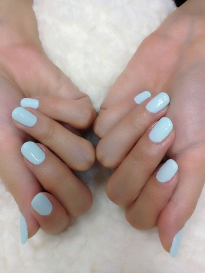 18 Ice Blue Nails - Simple goes a long way with this light blue shade.