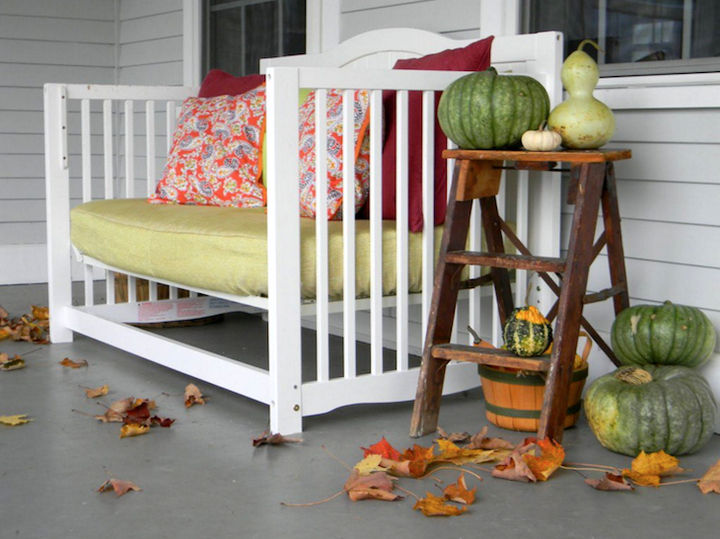 19 Ways to Repurpose Baby Cribs - Build a beautiful outdoor bench.