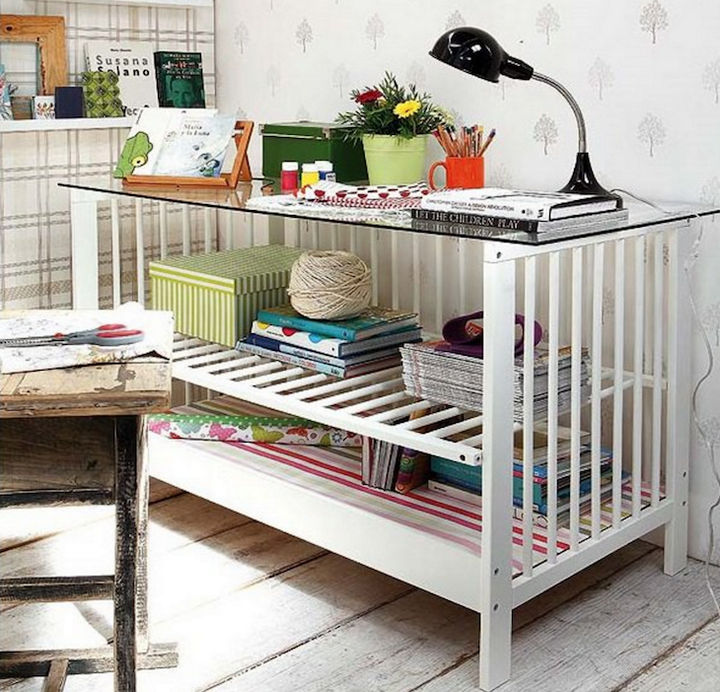 19 Ways to Repurpose Baby Cribs - Create a stylish home office desk.