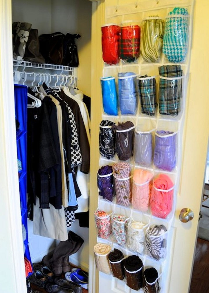 21 Clever Shoe Organizer Ideas - Give your scarves a new home.