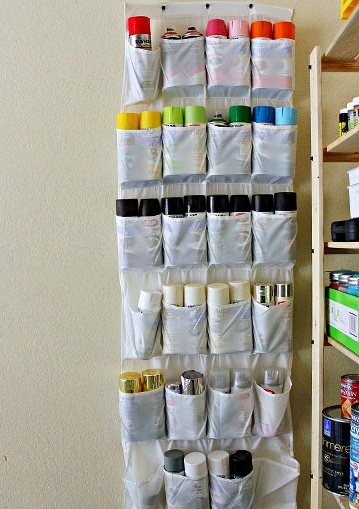 21 Clever Shoe Organizer Ideas - Organize spray paint.