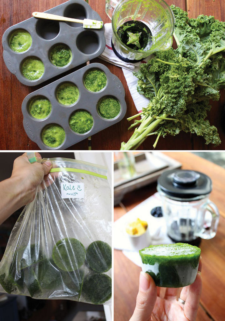 13+ Muffin Pan Hacks - Freeze leafy greens for smoothies.