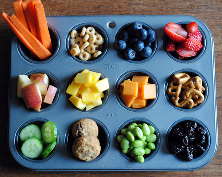"13+ Muffin Pan Hacks - Create a kid's ""buffet"" bento box."